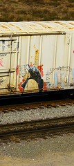 PHRITE (KNOWLEDGE IS KING_) Tags: railroad art up hat car yard train bench graffiti penguin paint panel character tracks rail railway socal crew wa unionpacific bomb railfan freight fact rollingstock phrite armn benched heydontiknowyou