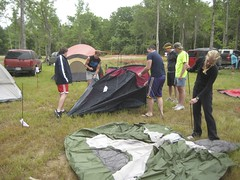 setting up the tents