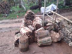 Bamboo shingles arriving bundle by bundle (SimonEvans1) Tags: bali house bamboo greenworld batukaru tabanan