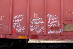 Q&A (KNOWLEDGE IS KING_) Tags: railroad black art yard train bench graffiti sketch paint panel streak 4 tracks railway socal question boxcar bomb courier railyard freight answer 2012 kcs the moniker