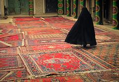 woman & carpet (Amin Arjmand) Tags: carpet persian women veil iran hijab iranian  kerman redcarpet persiancarpet  chador 20011  iranianwoman hejab   sirjan  persianwoman islamicveil  womenshejabiniran