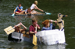Like a Duck to Water (MalB) Tags: cambridge boats pentax cam cardboard k5 suicidesunday