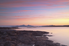 Muck, Eigg & Rm (Stuart Stevenson) Tags: longexposure camping sea holiday clouds sunrise reflections photography islands scotland sand rocks wideangle tent hills westcoast muck ardnamurchan eigg northatlantic morningglow clydevalley sannabay smallisles ca
