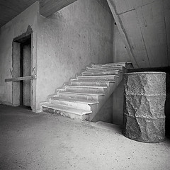 Lift shaft and stairs. Pachia Ammos ( , ) Crete. (Terrorkitten) Tags: blackandwhite abandoned 6x6 film stairs square greek hotel solitude barrel hellas hasselblad greece crete disused derelict blancinegre swc cretan liftshaft c41 swcm superwide   filmisnotdead hasselbladswc bebbington hasselbladswcm terrorkitten pachiaammos  philbebbington zeissbiogon38mmf45 hsslbld  fujincn pachia