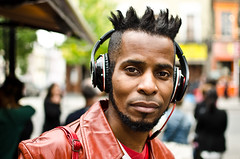 Rudy (56/100) (Explored) (drmaccon) Tags: street red portrait london prime nikon camden style stranger rudy headphones coolhair 100strangers