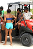 Alexandra Burke hitches a ride on the Ocean Rescue buggy at Miami Beach Miami Beach, Florida