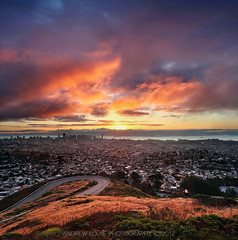 Sunrise at Twin Peaks (Andrew Louie Photography) Tags: california birthday bridge coffee clouds oakland bay san francisco jazz twin celebration burn area peaks