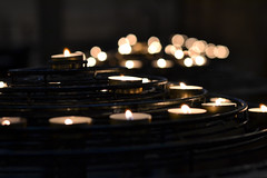 thoughts are lit in notre dame... (kelly.grace) Tags: paris france 50mm nikon europe candles bokeh prayer notredame notredamecathedral d3100