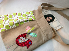 .Bird and Apples Large Bag with Two Straps. Handmade in Linen and Contrasting with a YUMMY Printed Apple Fabric. (Grace Rigby Textiles) Tags: handmade buttons fabric bags textiles trims largeshoppingbags strappybags