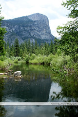 Mirror Lake (o-boy) Tags: california park travel blue trees summer sky panorama cliff usa mountain lake plant mountains color reflection tree green tourism nature water beautiful beauty grass stone america forest landscape outside outdoors mirror countryside leaf pattern view outdoor mirrorlake postcard country hill landmark hills national pasture american valley yosemite romantic yosemitenationalpark idyllic
