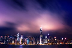 She's Got the Blues (DPGold Photos) Tags: china city travel blue skyline night clouds river hongkong lights asia cityscape central hong kong kowloon dpgoldphotos
