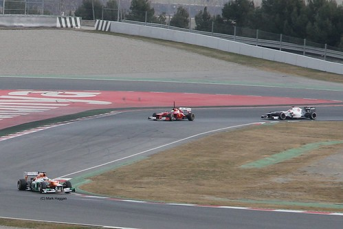 Paul Di Resta, Felipe Massa and Sergio Perez in action at Winter Testing, Circuit de Catalunya, March 2012