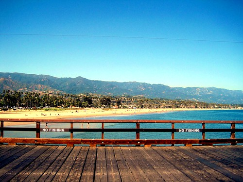 Santa Barbara, CA Wharf, Beach, and Mountains