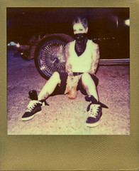 Ritzy_Peach thugPola003 (Onelog Photography) Tags: lighting sexy film tattoo polaroid losangeles friendship nashville gang hardcore 600 40 shotgun bandana impala handgun gangsta speedlight pinup brassknuckles acros rollin pushprocessed baller goldframe thelmaandlouise princesspeach ritzyriot