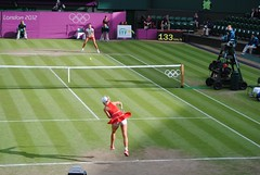 Caroline Wozniacki v Yanina Wickmayer - Jump to it! (zawtowers) Tags: red london court denmark evening outfit high jump power belgium centre caroline games womens tennis match olympic olympics venue wimbledon iconic singles sw19 2012 serve london2012 yanina wozniacki wickmayer