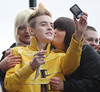 John Grimes and Edward Grimes aka Jedward with fans X Factor contestants leave their hotel to head for Liverpool Echo Arena for the 'X Factor' Tour concert Liverpool, England