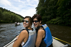 Mom and Jen (GutterxFlower) Tags: family water beautiful canon river mom photography boat scenery czech sister country rafting czechrepublic 5d raft ceskykrumlov vltava canon5dmkiii