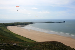 Parascending at Rhossili Bay, Gower