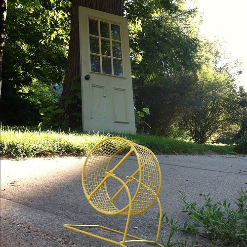 A hamster wheel on the curb and a door l by Tassava, on Flickr