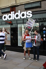 Manchester - protest in front of Adidas (War on Want) Tags: shop manchester protest olympics adidas sweatshops workersrights