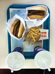 Tray of fast food (f l a m i n g o) Tags: food french burger fastfood son sandwich fries drinks wendys iphone baconator