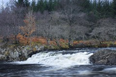 Glen Orchy (Christopher Swan) Tags: blue autumn trees orange blur green water canon grey scotland waterfall highlands argyll pines dull beech glenorchy longexposrure christopherswan wwwchristopherswanphotographycom