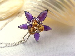 Lily Amethyst Citrine Pendant Flower Weaved Sterling Silver Necklace (EternoJewelry) Tags: yellow necklace dewdrops wire lily purple handmade champagne wrapped jewelry jewellery honey handcrafted earrings amethyst pendant gemstones citrine rondelles