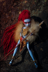 Hild-warrior. Wild Huntresses (firexia) Tags: red wild abbey doll dolls ooak makeup redhair mh mattel repaint reroot faceup monsterhigh abbeybominable
