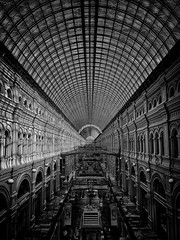 GUM in B&W (cosmosushi) Tags: city trip travel light shadow blackandwhite bw white black glass architecture contrast mall gum blackwhite erasmus russia geometry moscow perspective sunny tunnel redsquare luxury bew architettura mosca oneplus oneplustwo flickrtravelaward snapseed oneplus2