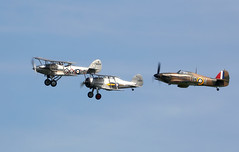 1930's RAF Fighters (Bernie Condon) Tags: uk classic plane vintage flying 1930s fighter beds aircraft aviation military hurricane airshow planes ww2 demon preserved fighters shuttleworth raf hawker warplane gladiator gloster battleofbritain airdisplay 2016 oldwarden fightercommand