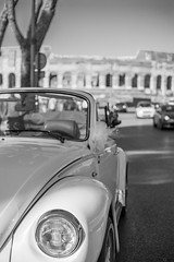The eye of the Beatle (giolor89) Tags: old bw italy white black rome roma history car vintage ancient italia bn beatle coliseum bianco nero colosseo storia macchia