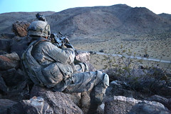 Watching from the high ground (The U.S. Army) Tags: california usa infantry america training army us desert calif soldiers fortirwin nationaltrainingcenter 2ndinfantrydivision 2ndid sgtblanton ntc1606 arriveinsilence