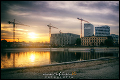 Humboldthafen (Krueger_Martin) Tags: sky orange sun berlin water yellow architecture reflections reflex colorful wasser sonnenuntergang sundown wideangle olympus gelb architektur 24mm sonne spiegelung zuiko farbig hdr bunt weitwinkel photomatix festbrennweite humboldthafen primelense canoneos7d invalidenstrase olympuszuiko24mmf28
