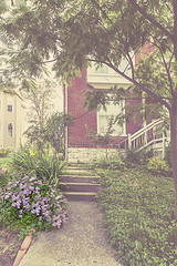 Walk with Flowers (LarryHB) Tags: travel urban flower horizontal vintage landscape photography illinois sidewalk smalltown 2016