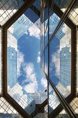 Diamond in the Sky (PLF Photographie) Tags: diamond diamant ciel sky blue architecture graphisme graphism reflection rflexion mirror miroir ponant paris glass
