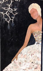 at the ball (flovatelli) Tags: white black green paper acrylic recycled sustainableart ecofab artecologie