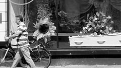 Sunny coffin... (jaap spiering | photographer) Tags: people blackandwhite bw monochrome noiretblanc zwartwit streetphotography denhaag nb mens thehague mensen 070 jaapspiering jaapspieringphotographer jaapspieringfotografie