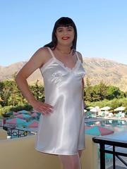 White satin (Paula Satijn) Tags: sun white holiday hot sexy pool girl smile sunshine outside happy shiny joy silk tgirl crete transvestite satin gurl chemise nightie
