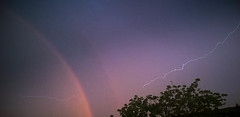 Light(n)ing the rainbow (Pe) Tags: lighting light sunset sun rain weather rainbow smartphone thunderstorm lumia