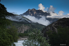 Scenic France (Safarii) Tags: morning summer sky mist mountain mountains alps cold tree tower water weather rock clouds river walking french europe valley mountaineering frane briancon largentiere mountainscpe largentierelebessee