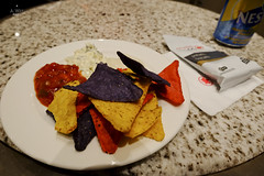 Nachos and dips (A. Wee) Tags: toronto canada airport lounge snack mapleleaf nachos yyz aircanada