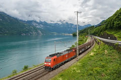185 097 Murg (Andrea Frigerio - gigi260890) Tags: railroad lake mountains train landscape lago schweiz switzerland see nikon suisse eisenbahn rail railway zug db cargo berge deutschebahn nikkor svizzera stgallen bahn montagna treno redbull freight paesaggio bludenz bombardier ferrovia traxx walensee gterzug buchs 1680 kanton sangallo cantone baureihe murg sbbcffffs br185 dbschenker d7000 185097 1850973