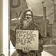 Why Lie - it's for beer!☺ (.•۫◦۪°•OhSoBoHo•۫◦۪°•) Tags: sanfrancisco california sign canon funny streetphotography humour honest friendly powellstreet smileyface beardyman canoneos40d whylieitsforbeer youseealotofthishere somanyhomelessinsanfrancisco