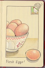 2012_04_24_eggs_01 (blue_belta) Tags: art moleskine sketch drawing egg coloredpencil