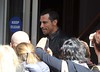 Danny Wood of New Kids On The Block greets fans as he leaves a hotel in Dublin Dublin, Ireland