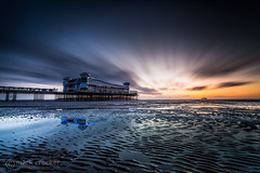Reflected Pier (images through a lens) Tags: uk beach pier sand europe neon unitedkingdom britain somerset westonsupermare weston grandpier westonsmare