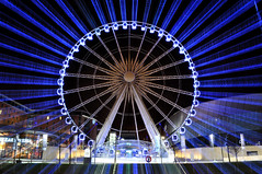 Radial (Mortarman101) Tags: light wheel night liverpool neon ferriswheel rotation albertdock radial zoomblur echoarena