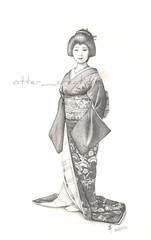 Geiko Sayaka-san (pchan22) Tags: portrait pencil drawing dessin maiko geiko geisha kimono gion crayon sayaka   hiki kobu hikizuri  tsurui