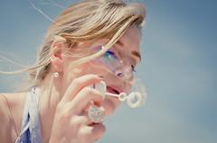Serendipity (Kaat dg) Tags: light summer sun girl hair 50mm nikon bokeh 14 bubbles bubble d5100