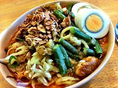 Laksa Siam at Sue'z Delights (ultrakml) Tags: cameraphone food lunch clayton egg australia melbourne victoria siam malaysian laksa iphone suez iphone4 iphoneography cameraplus